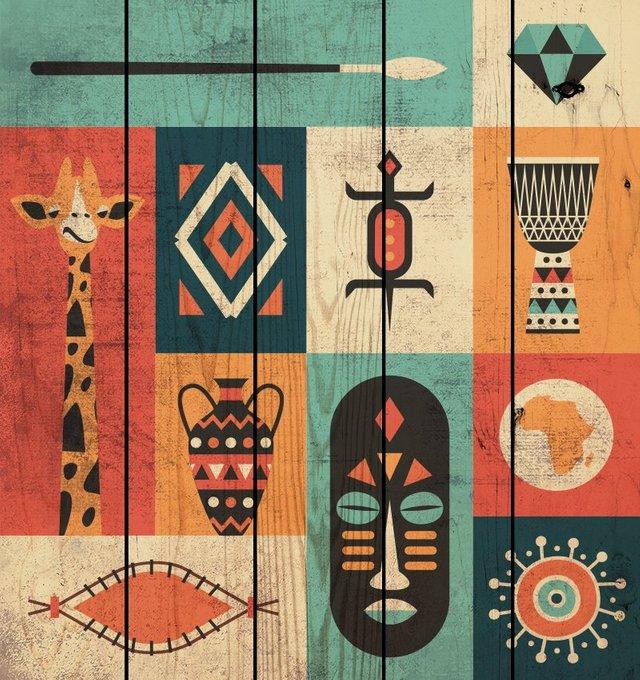 Картина на дереве Символы Африки 40х40