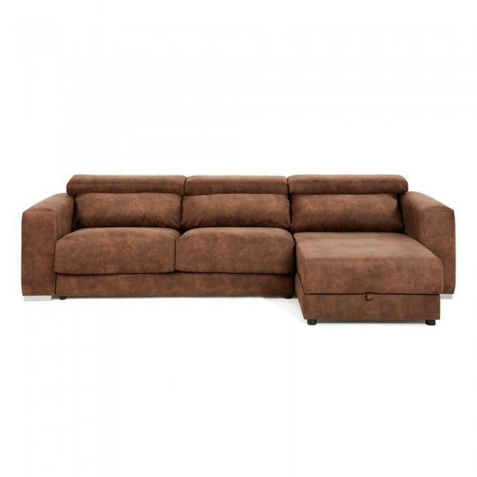 Угловой диван Singapore с оттоманкой коричневого цвета