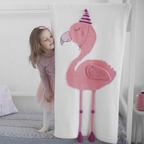 Плед Фламинго белого цвета