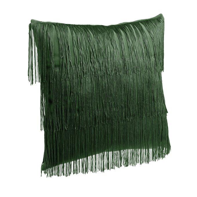 Подушка с бахромой зеленого цвета