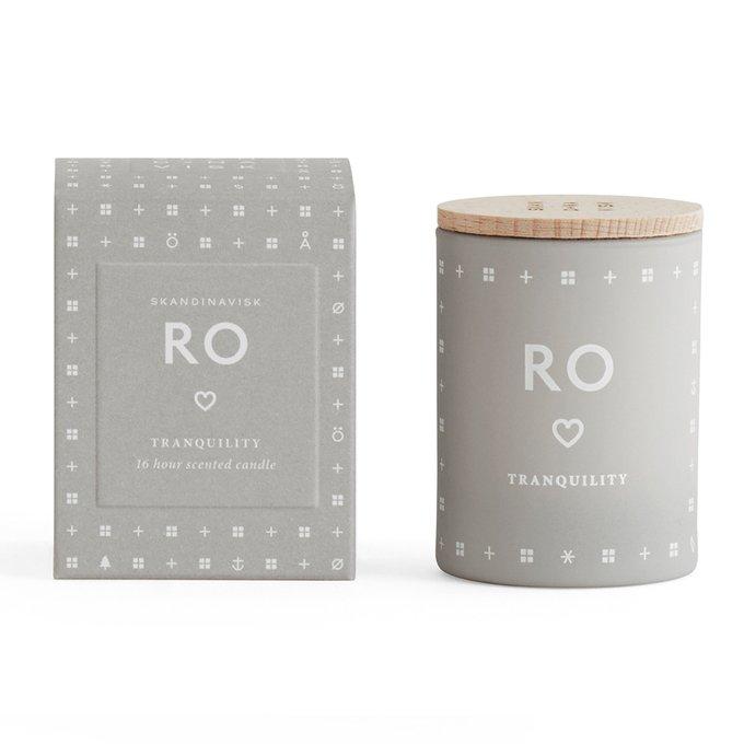 Свеча ароматическая RO серого цвета с крышкой