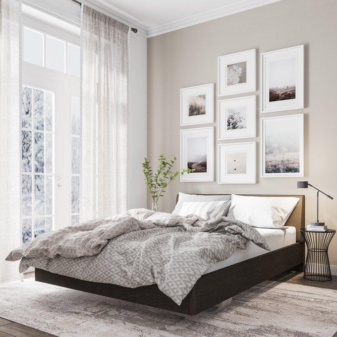 Кровать Элеонора 160х200 с изголовьем серо-бежевого цвета