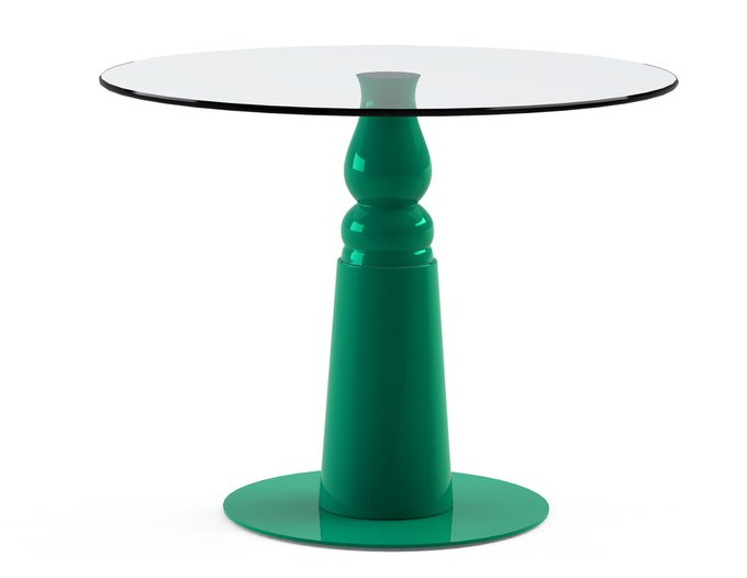 """Обеденный стол """"IGNIS Green"""" с круглой столешницей из закаленного стекла"""