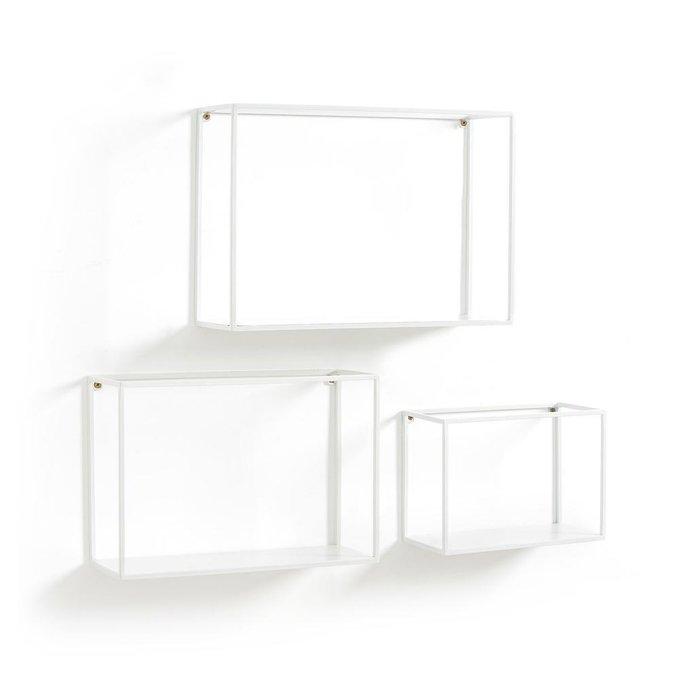 Набор из трех металлических полок Hiba белого цвета