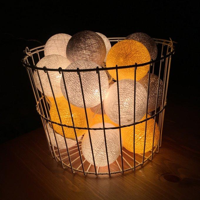 Тайская гирлянда желто-серая от розетки