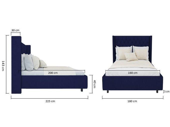 """Кровать с декоративными гвоздиками """"Wing"""" Велюр Синий 160x200"""
