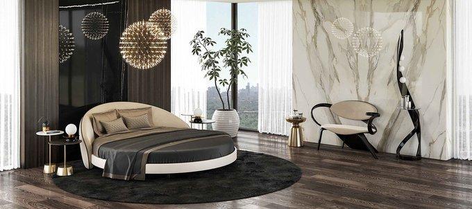 Кровать круглая Apriori L с изголовьем темно-бирюзового цвета диаметр 220
