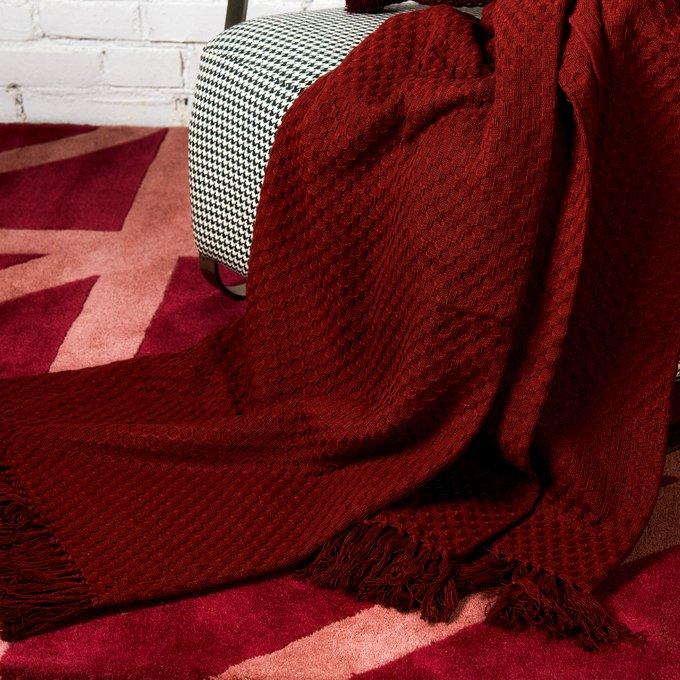 Покрывало Essential вафельное бордового цвета