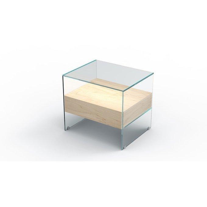 Тумба стеклянная с ящиком