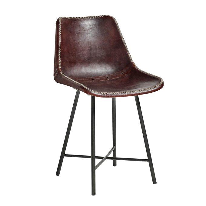 Обеденный стул в темно-коричневой коже