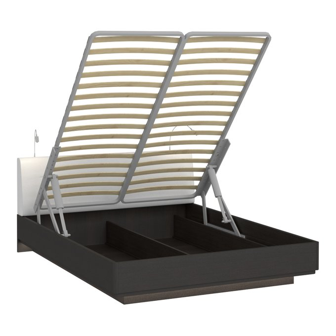 Кровать Элеонора 160х200 с изголовьем белого цвета и двумя светильниками