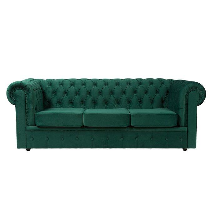 Прямой диван Chesterfield зелёного цвета