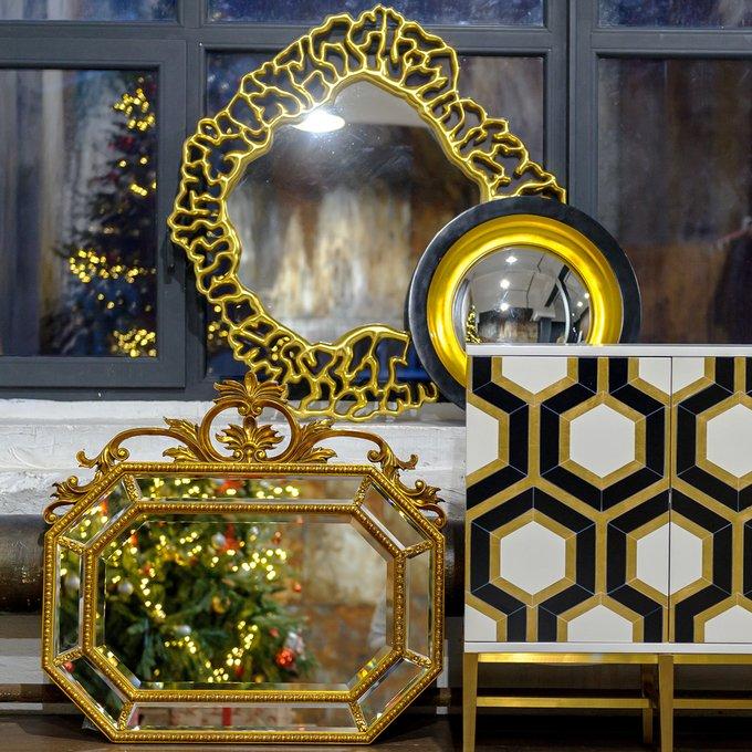 Декоративное настенное зеркало Перигей (fish-eye) в раме черно-золотистого цвета