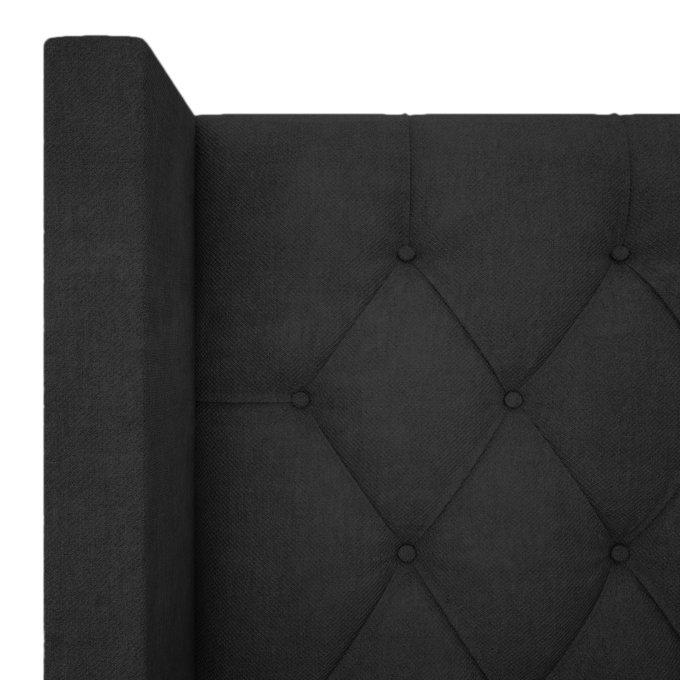 Кровать Wing-2 из темно-серого льна и натурального дерева 180x200