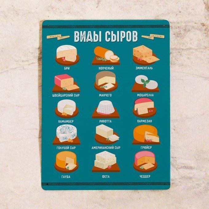 Табличка для кухни из металла Виды сыров 30х40