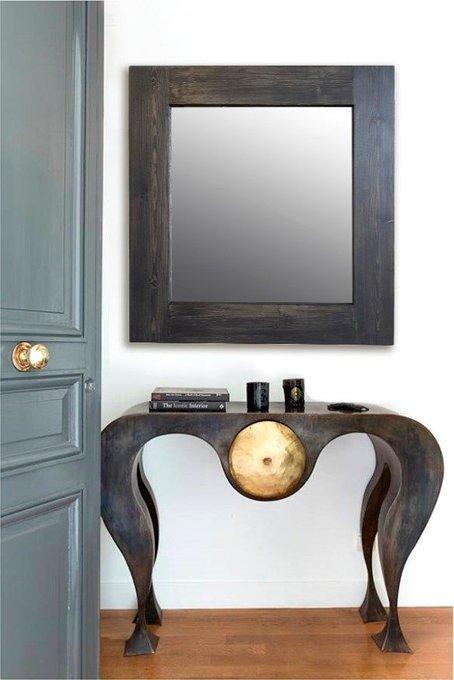 Настенное зеркало Венге в раме из массива сосны 75х170