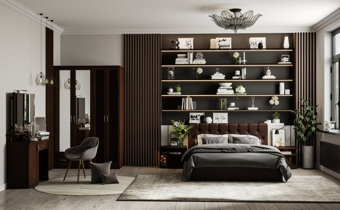 Кровать Инуа 180х200 темноо-коричневого цвета с подъемным механизмом