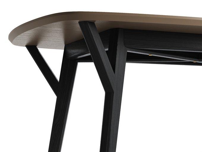 Обеденный стол Proso чёрный дуб / бежево-серый
