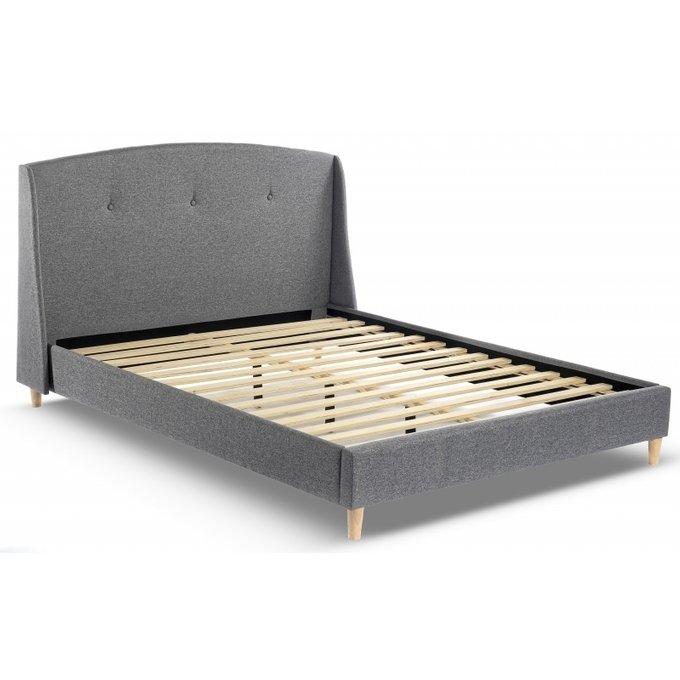 Кровать двуспальная Molly 160х200 серого цвета