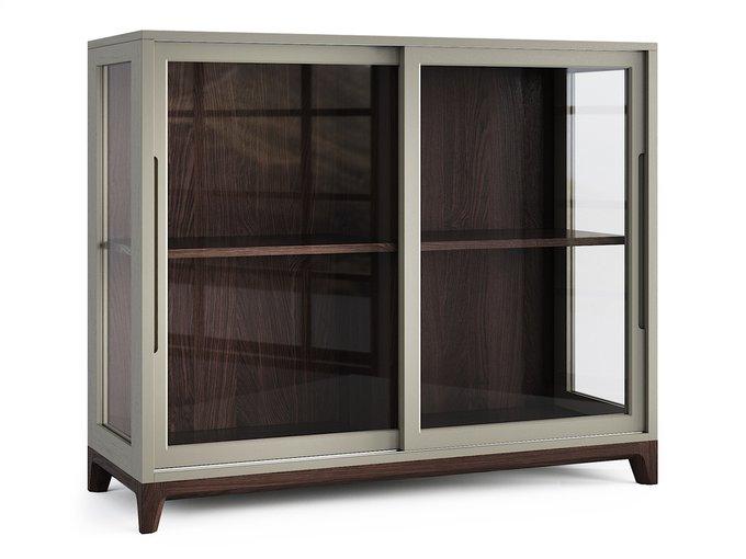 Низкая витрина Case тёмный дуб / серый шёлк