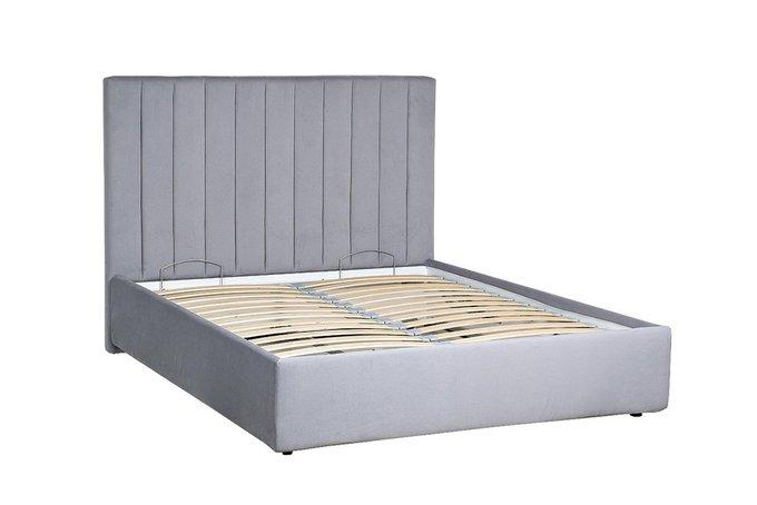 Кровать Andrea серо-голубого цвета c подъемным механизмом 160х200