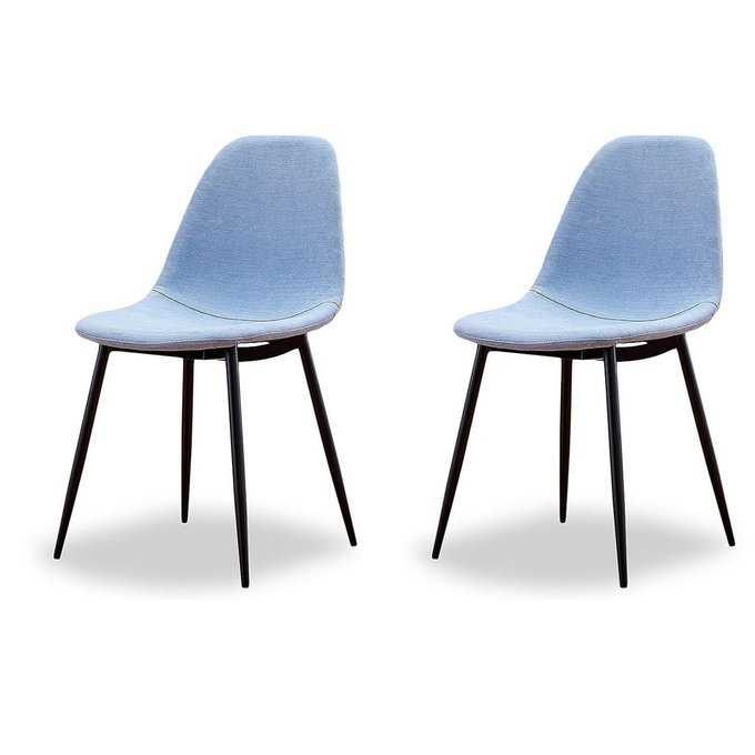 Набор из двух стульев Cowboy в голубой тканевой обивке