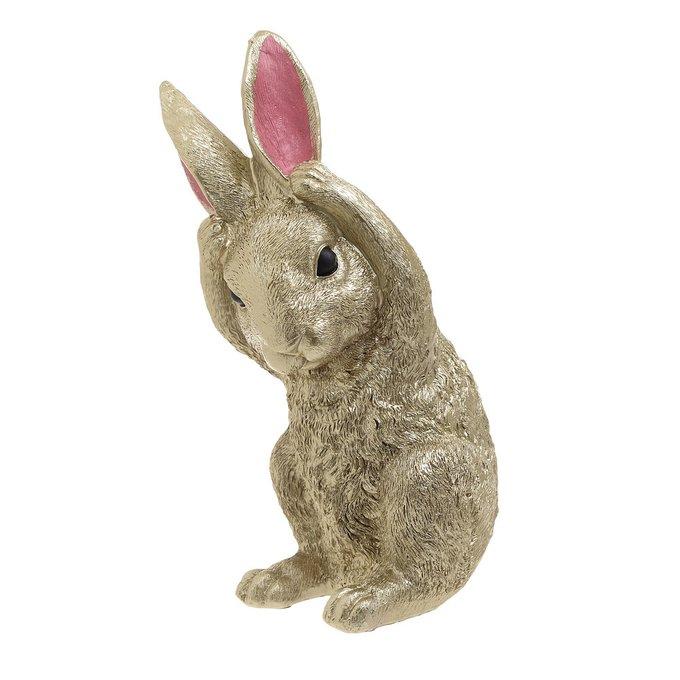 Декор настольный кролик золотого цвета