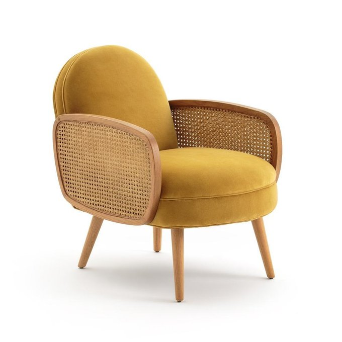 Кресло Buisseau с велюровой и плетеной отделкой