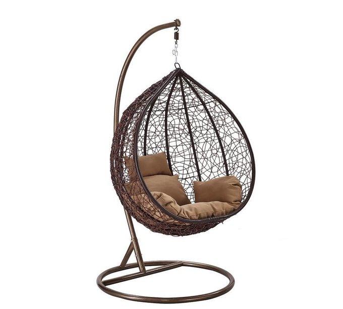 Большое подвесное кресло Gusto brown коричневого цвета