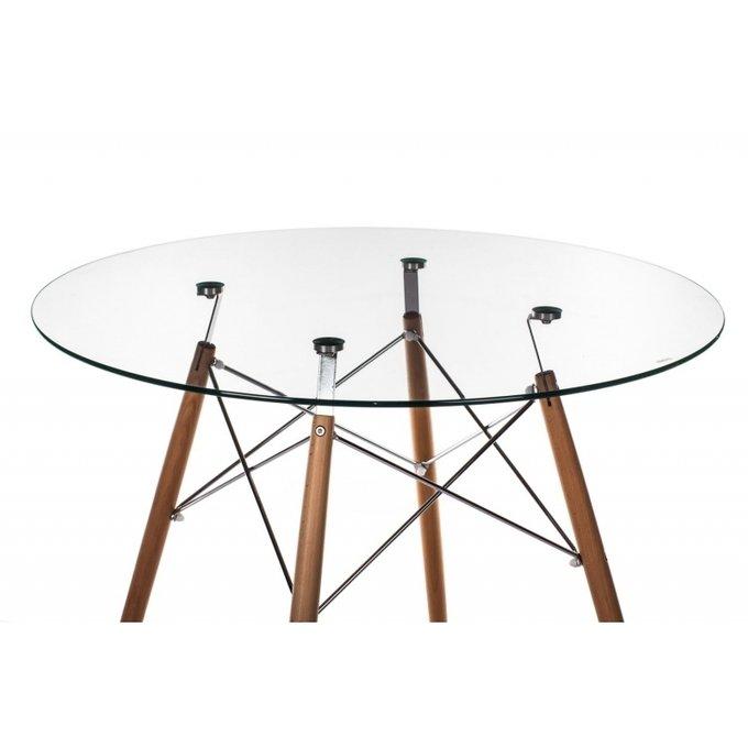 Круглый стол со стеклянной столешницей