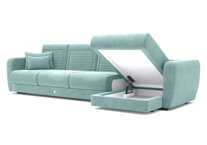 Угловой диван-кровать голубого цвета