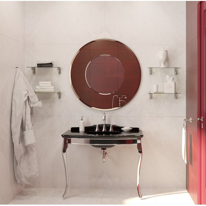 Круглое зеркало в раме цвета бронзы