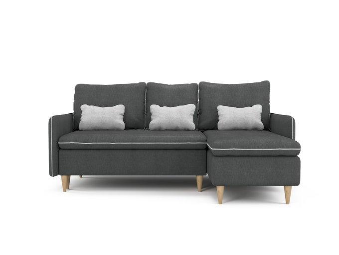 Угловой раскладной диван Ron правый темно-серого цвета