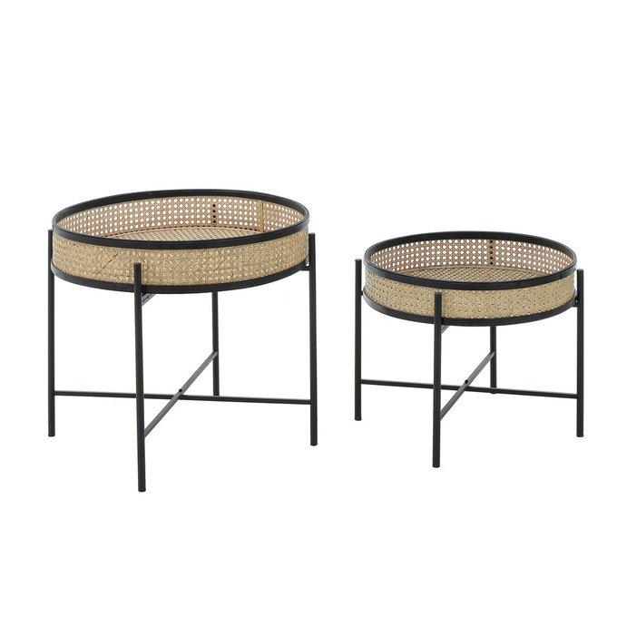 Набор из двух журнальных столиков из металла и бамбука