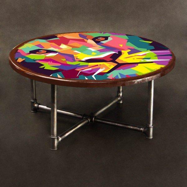 Журнальный столик Лев из сосны и металла