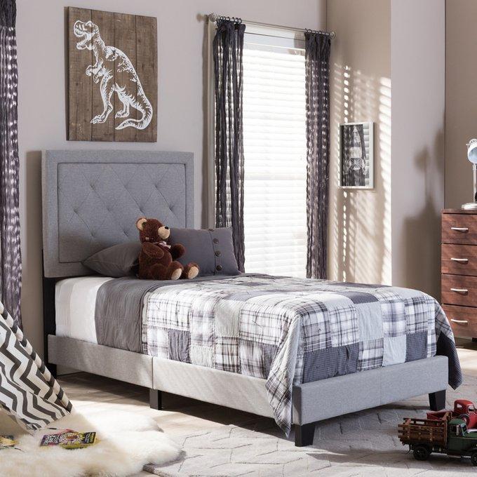 Кровать Paris Linen Upholstered Gray серого цвета 120х200