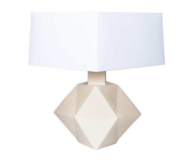 Настольная лампа из керамики бежевого цвета