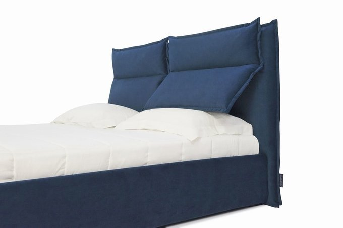 Кровать Wing с подъемным механизмом синего цвета 160х200