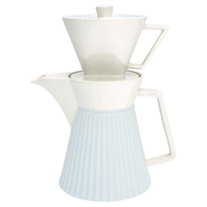 Кофейник с фильтром Alice pale blue из фарфора