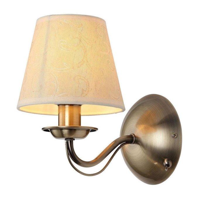 Бра бронзового цвета с кремовым абажуром