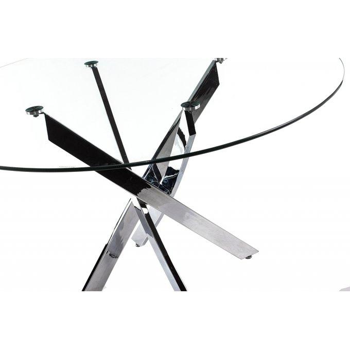 Обеденный стол Komo Chrome со стеклянной столешницей