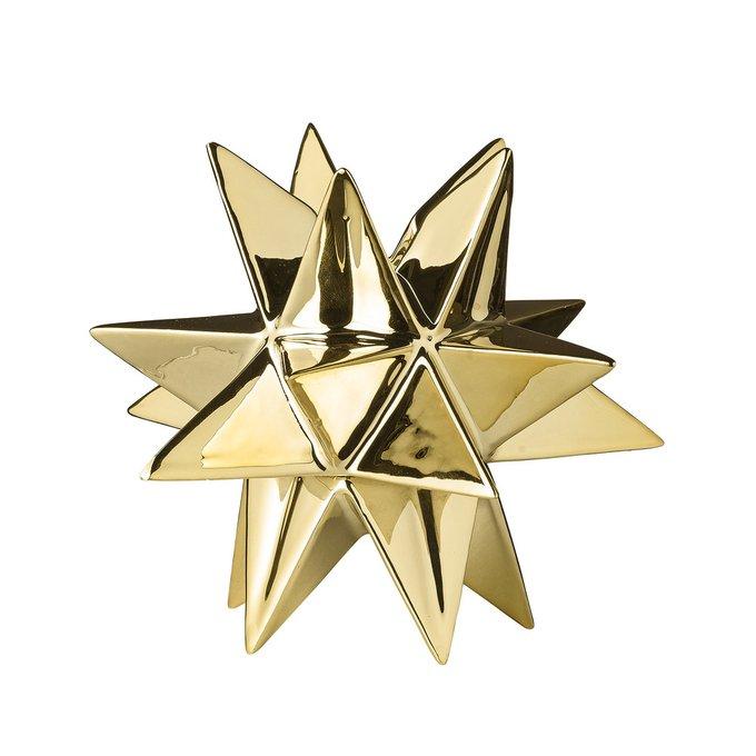 Декоративная звезда-подсвечник 3D золотого цвета