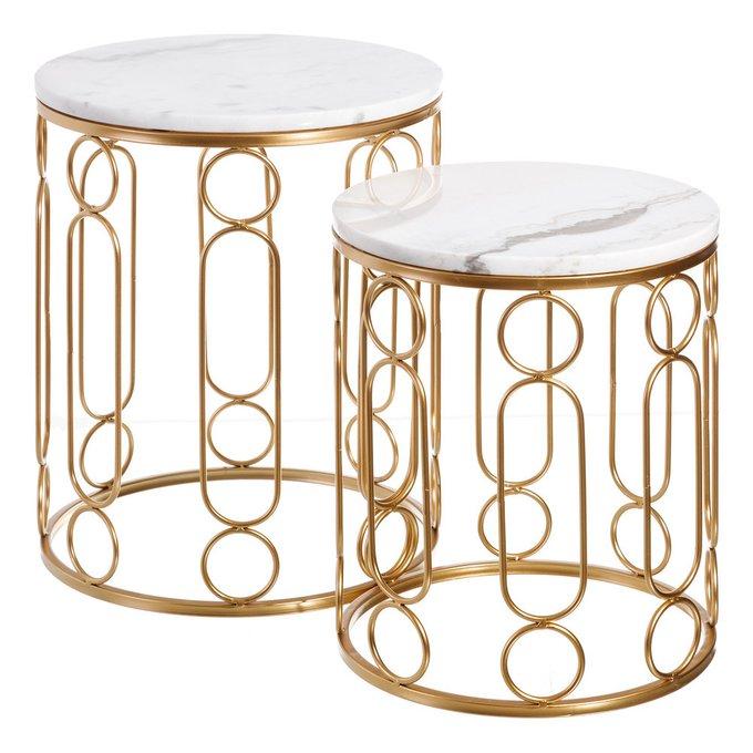 Набор из двух кофейных столиков из металла и мрамора