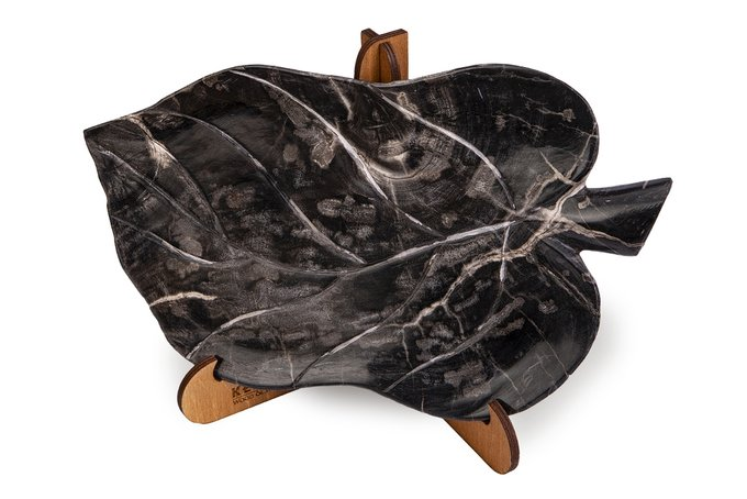 Декоративная тарелка Лист из окаменелого дерева 382456