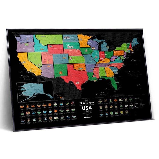 Карта travel map usa black