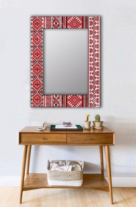 Настенное зеркало Красная заря в раме из массива сосны 55х55