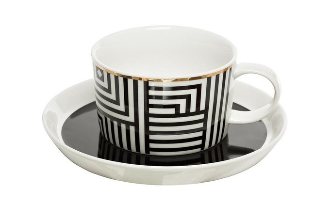 Комплект чайных чашек с блюдцем черно-белого цвета
