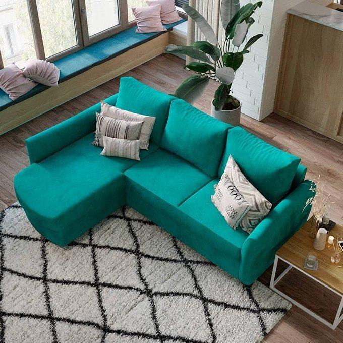 Угловой диван-кровать Катарина зеленого цвета