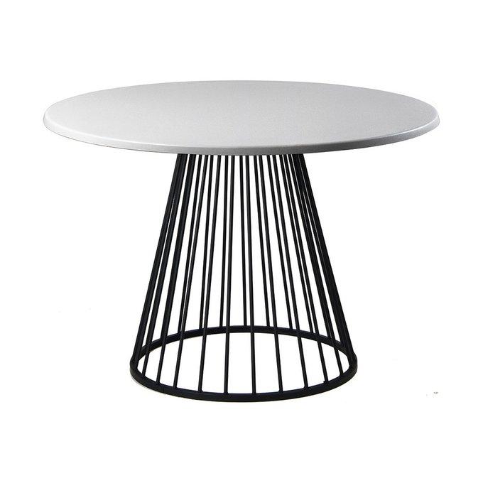 Обеденный стол Twister Black со столешницей серебряного цвета