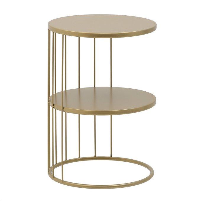 Кофейный столик из металла золотого цвета
